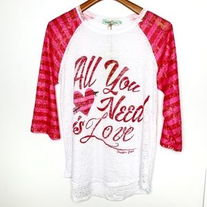 SOUTHERN GRACE All You Need Is Love Burnout Top L